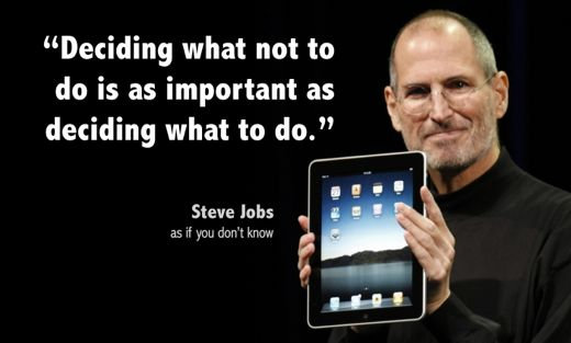 Not to do is as important as deciding what to do steve jobs